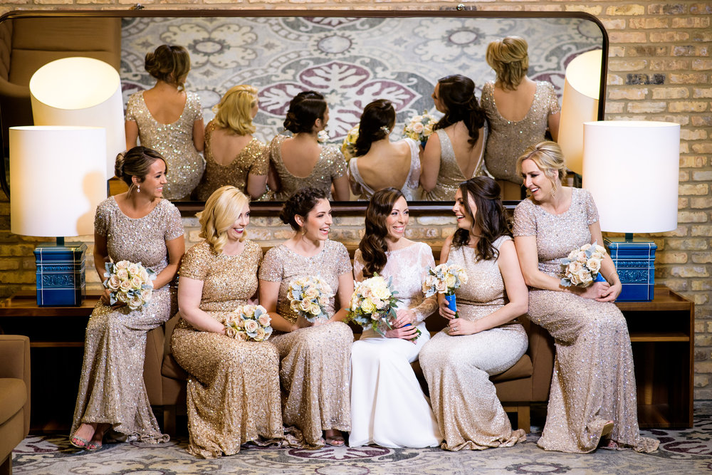 Bridesmaids fun portrait during a Thompson Chicago wedding.