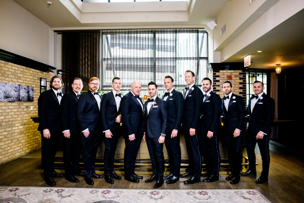 Groomsmen portrait during a Thompson Chicago wedding.