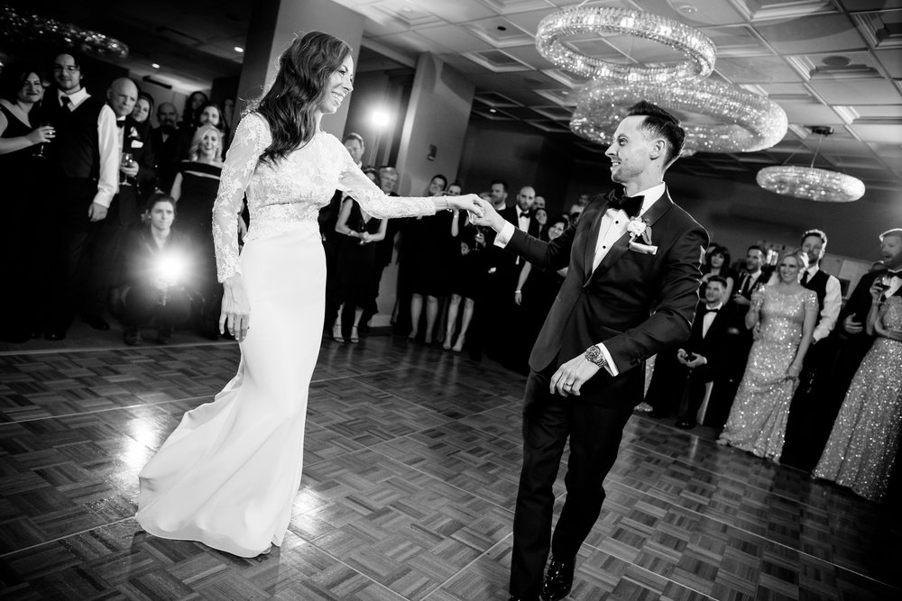 Bride and groom first dance during their Thompson Chicago wedding reception.