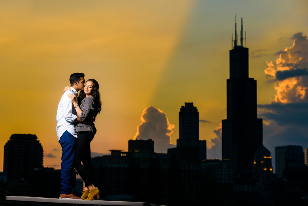 Chicago engagement session outside the Shedd Aquarium at sunset.