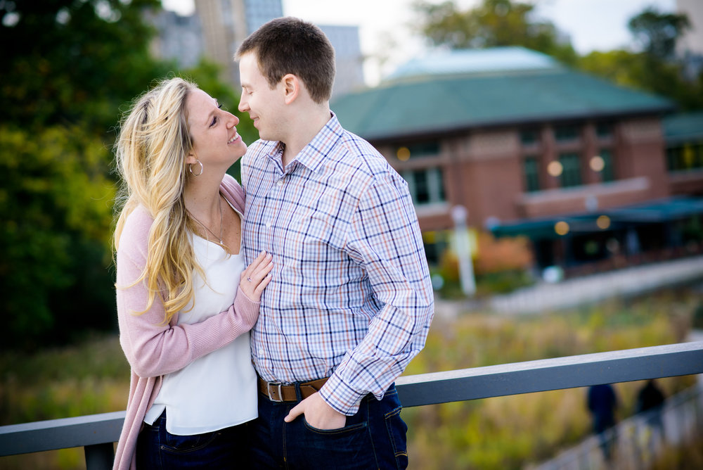 Engagement session at the Chicago Theater, Chicago Riverwalk, Lincoln Park and lakefront skyline.