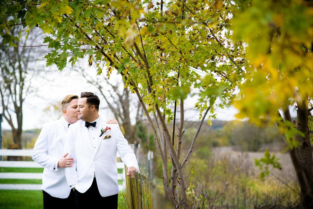 Same sex wedding at Heritage Prairie Farms outside Chicago Illinois.