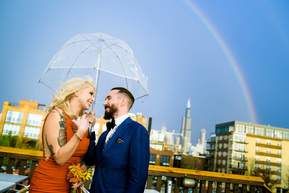 Rainbow Chicago wedding photo at Bottom Lounge.