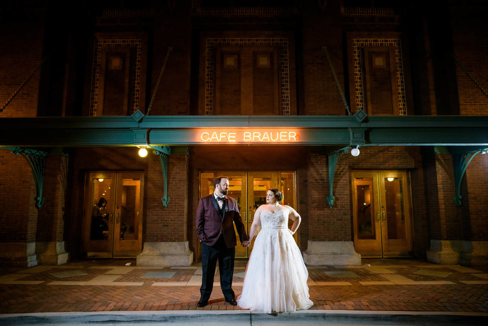 Night portrait of the bride and groom during their Cafe Brauer Chicago wedding.