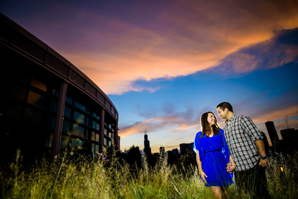 Sunset skyline engagement session at the Chicago museum campus.