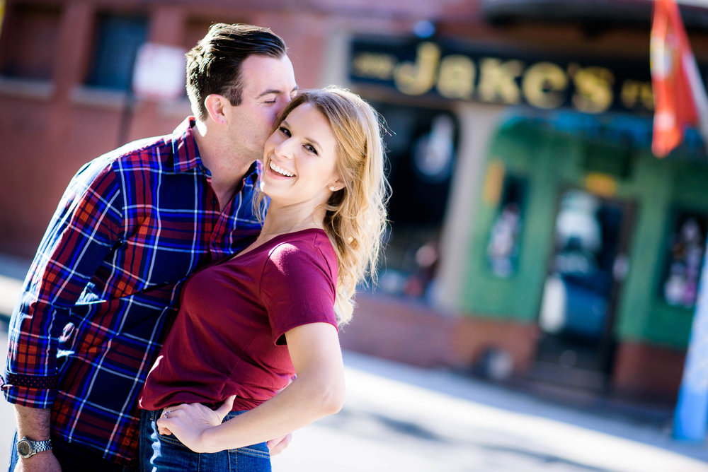 Chicago engagement session outside Jake's Pub in Lincoln Park.