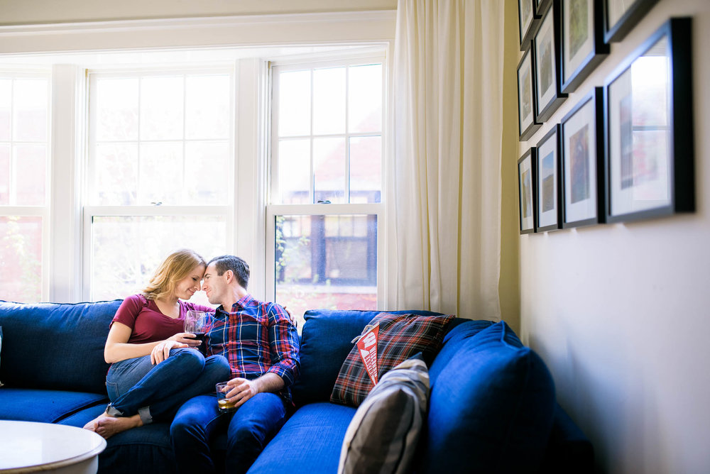 Intimate engagement portrait at the couple's Lincoln Park home Chicago.