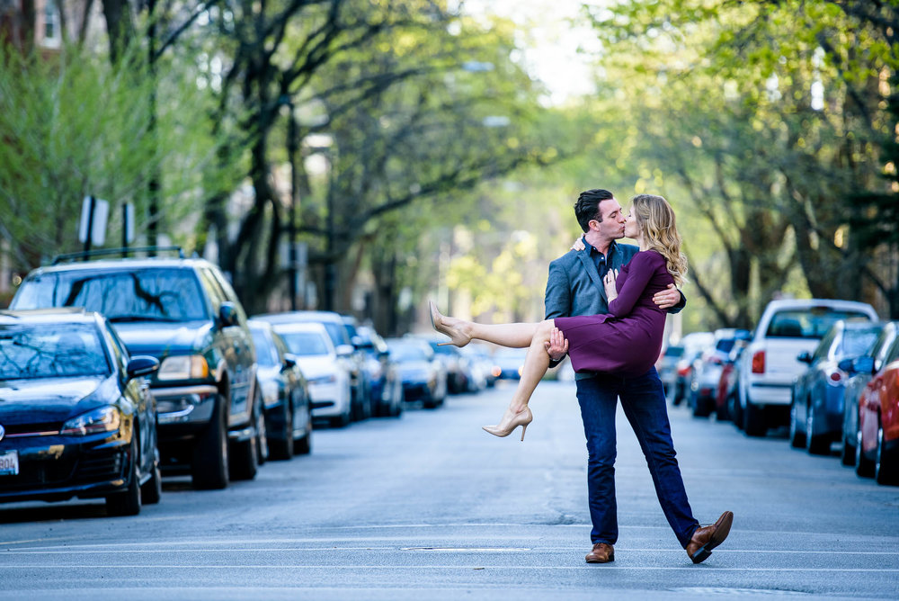 Fun creative Chicago engagement portrait in Lincoln Park.