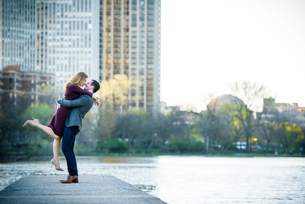 Fun Chicago engagement portrait outside the nature museum in Lincoln Park.