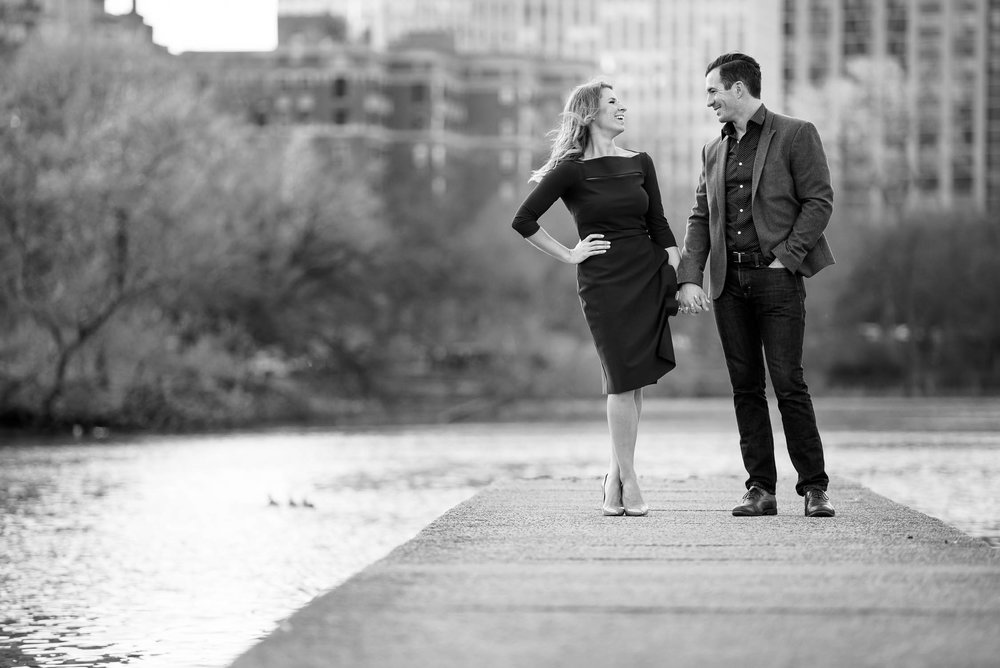 Fun creative Chicago engagement session outside the nature museum in Lincoln Park.