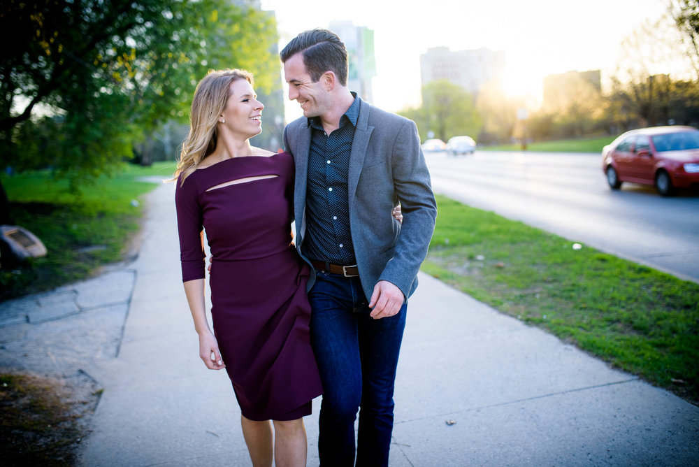 Fun moment between the couple during the Chicago engagement session in Lincoln Park.