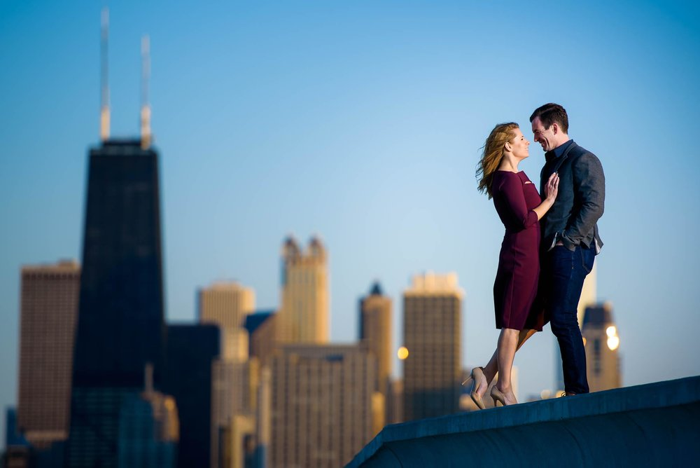Chicago skyline engagement session near Theater on the Lake.
