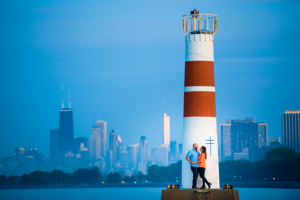 Chicago skyline engagement photo at Montrose Harbor.