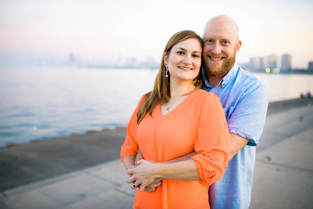 Montrose Harbor engagement session on the Chicago lakefront.
