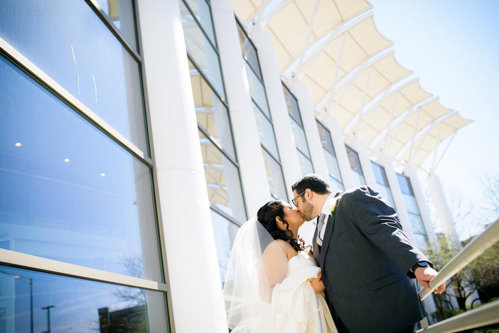 Wedding photo outside the Skokie Doubletree Hotel.
