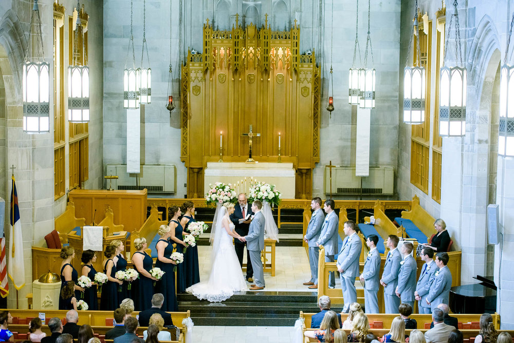 Wedding ceremony at Baker Memorial United Methodist Church in St. Charles