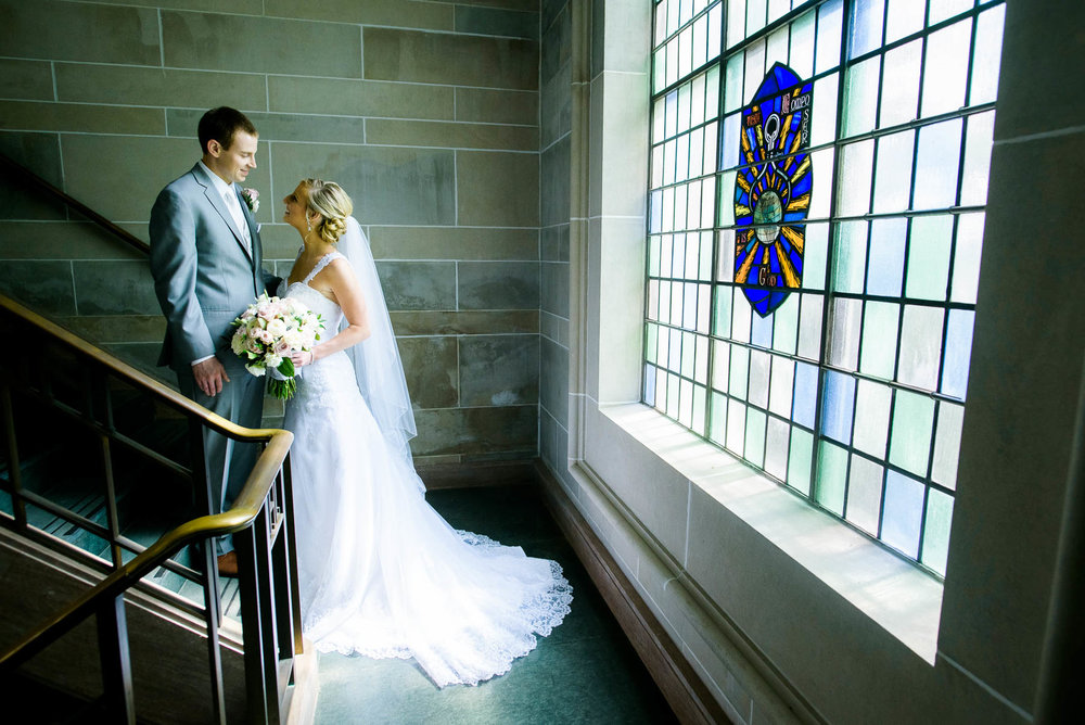 Bride and groom moment after their wedding at Baker Memorial United Methodist Church in St. Charles