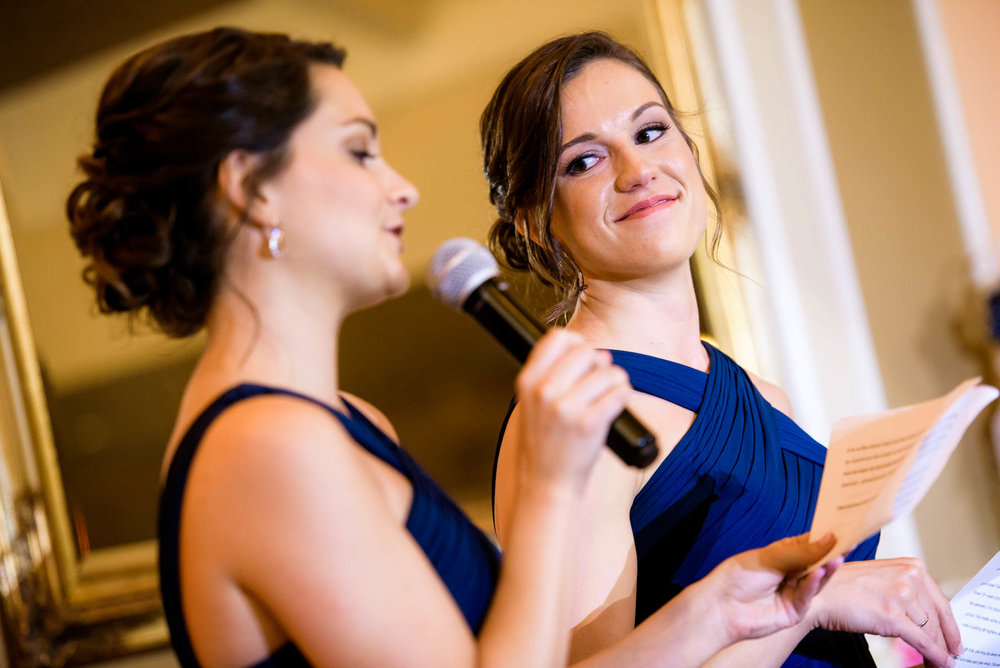Maid of honor toast during a St. Charles Country Club wedding.