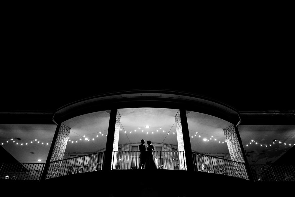 Night wedding portrait at the St. Charles Country Club.