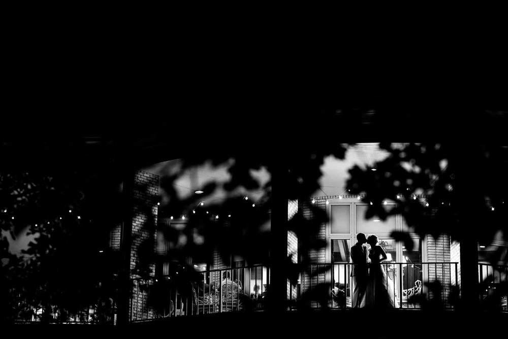 Night wedding portrait of bride and groom at the St. Charles Country Club.