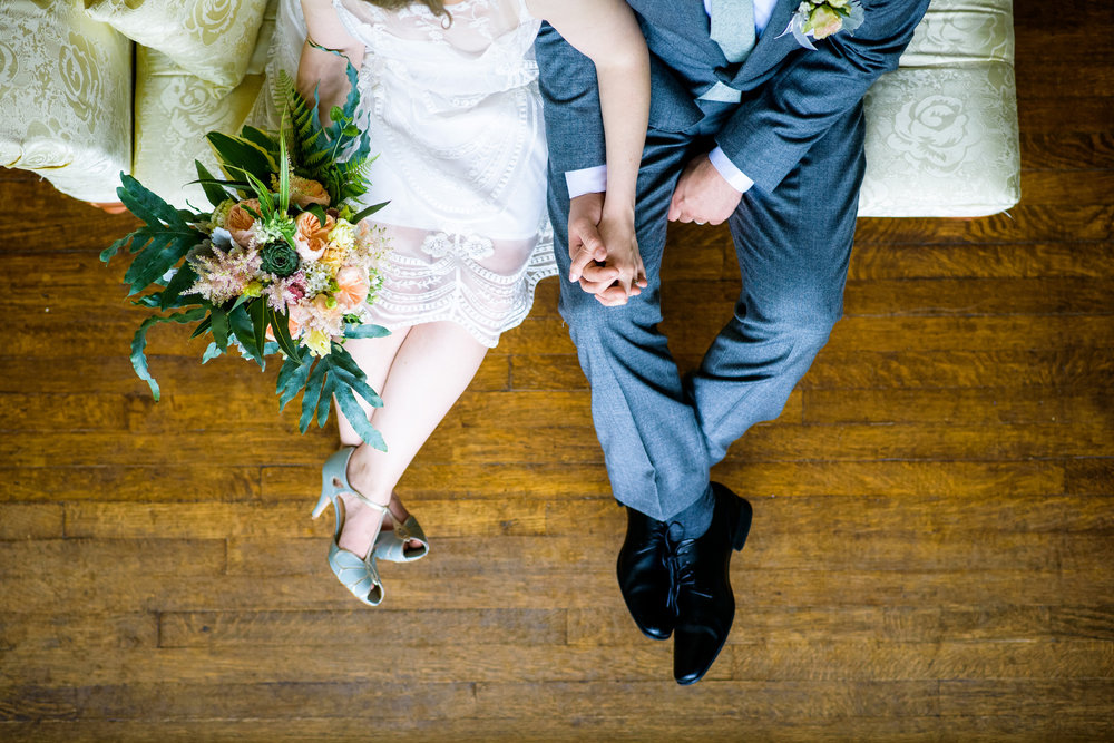 Creative portrait of the bride and groom during a Cheney Mansion wedding in Oak Park.