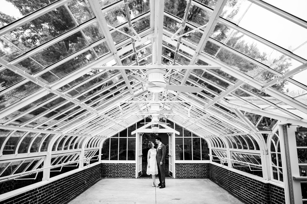 Greenhouse portrait of the bride and groom during a Cheney Mansion wedding in Oak Park.