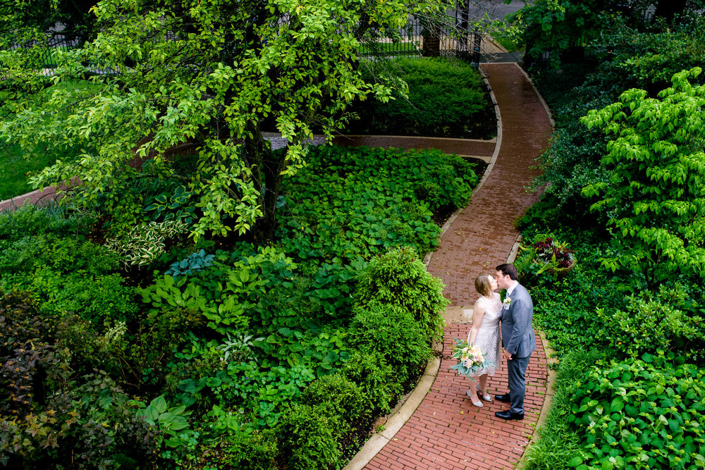 Outdoor photo of the bride and groom during a Cheney Mansion wedding in Oak Park.