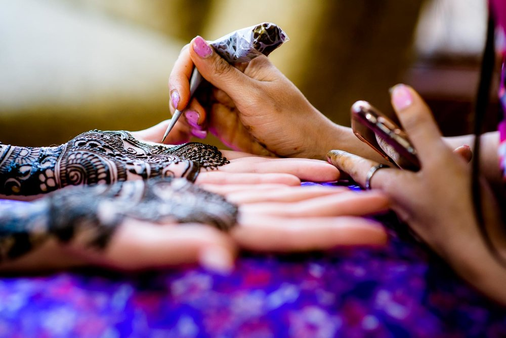 Henna photo during an Indian wedding mehndi in South Barrington, Illinois.