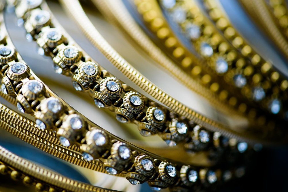 Jewelry detail photo at a Renaissance Schaumburg Convention Center Indian wedding.