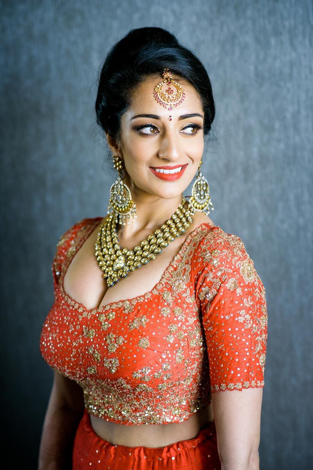 Bridal portrait during a Renaissance Schaumburg Convention Center Indian wedding.