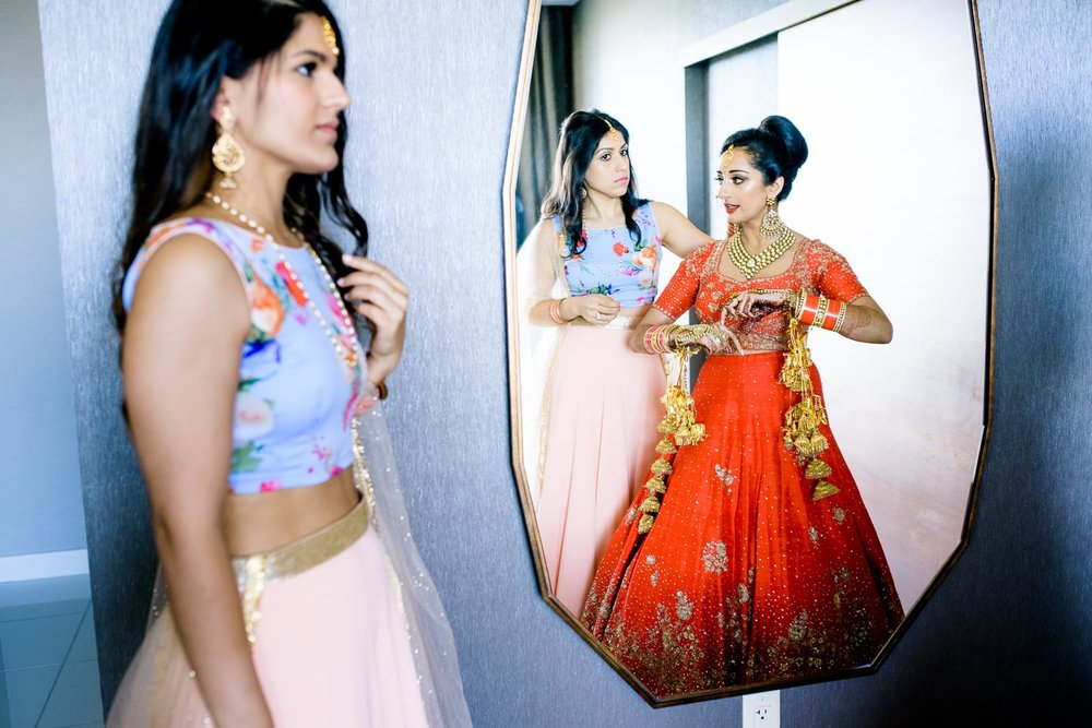 Creative bridal photo during a Renaissance Schaumburg Convention Center Indian wedding.