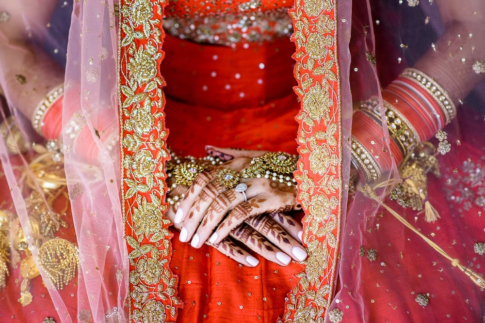Bridal detail photo during a Renaissance Schaumburg Convention Center Indian wedding.