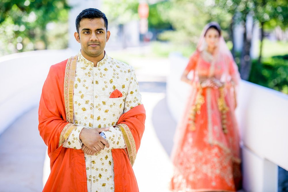 First look during a Renaissance Schaumburg Convention Center Indian wedding.
