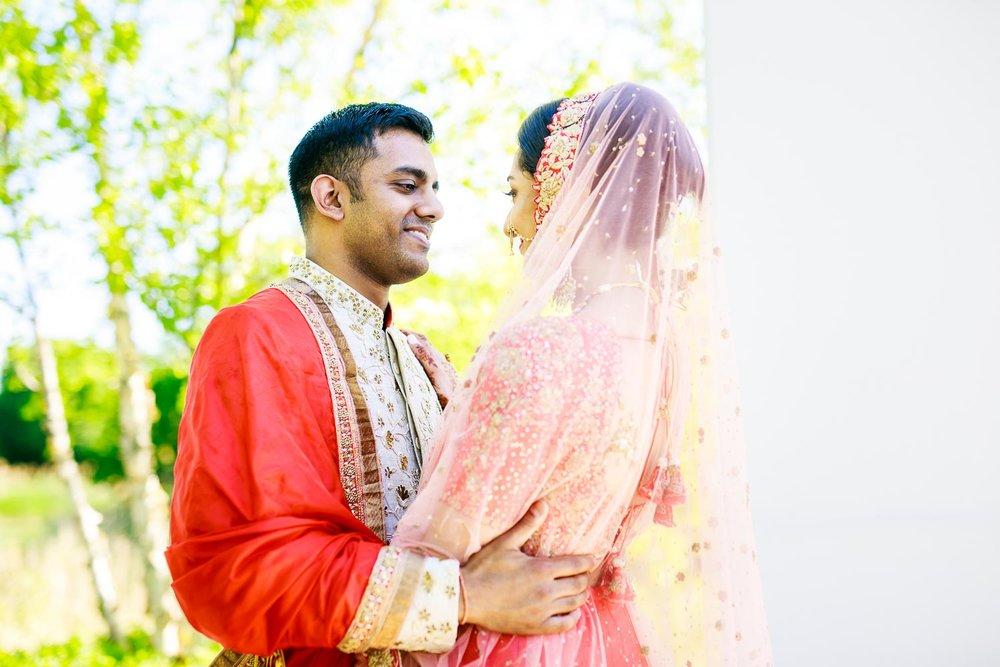Bride and groom during their Renaissance Schaumburg Convention Center Indian wedding.