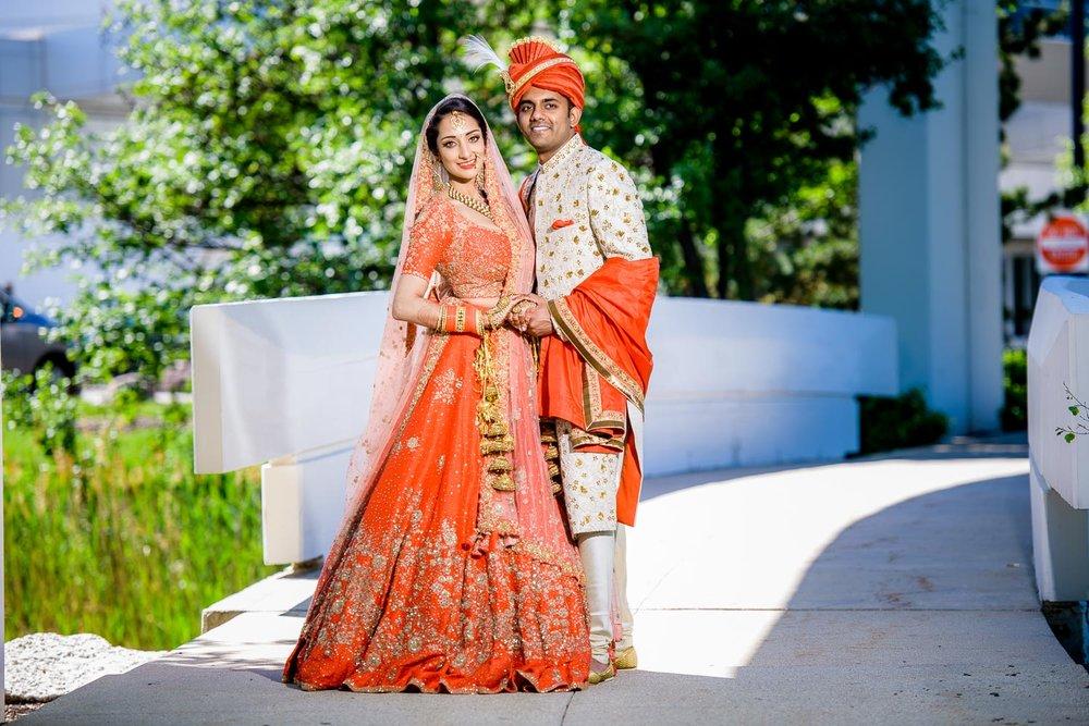 Bride and groom portrait during their Renaissance Schaumburg Convention Center Indian wedding.