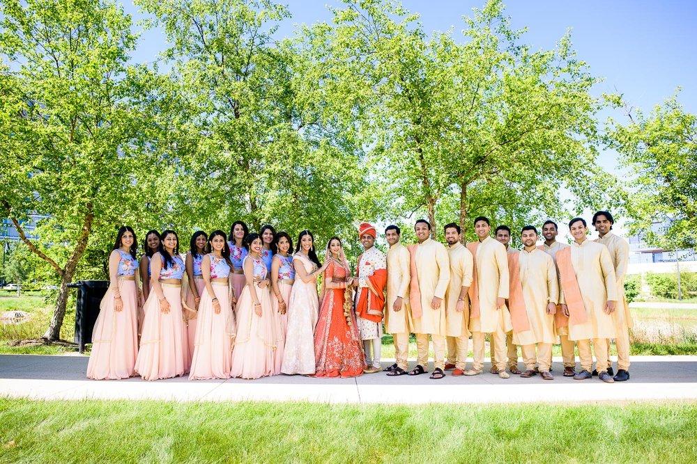 Fun wedding party photos during a Renaissance Schaumburg Convention Center Indian wedding.