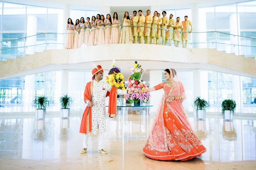 Fun wedding photo during a Renaissance Schaumburg Convention Center Indian wedding.