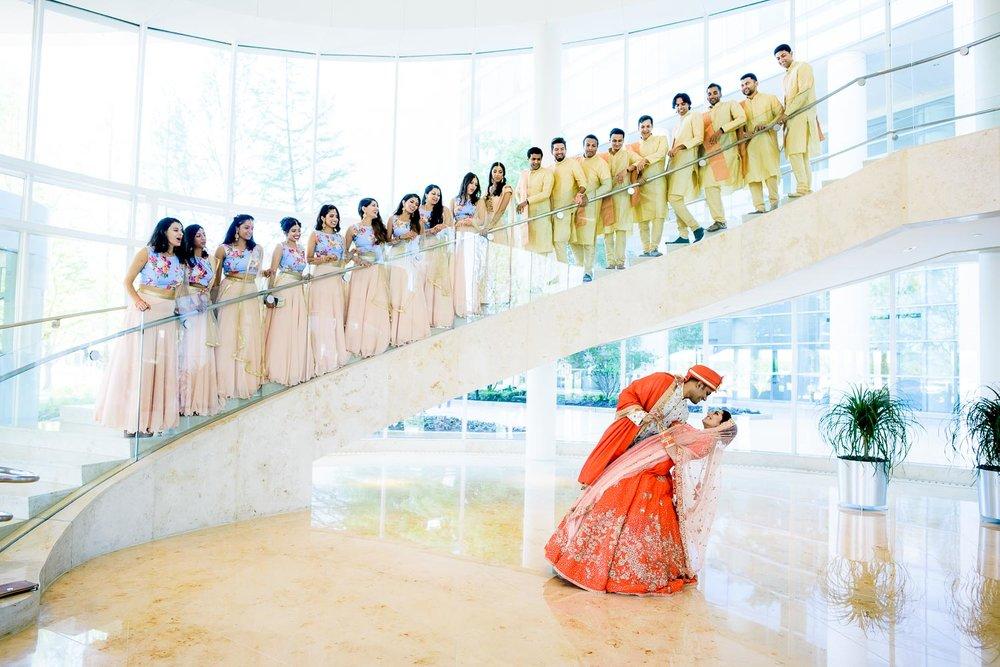 Creative wedding party photo during a Renaissance Schaumburg Convention Center Indian wedding.
