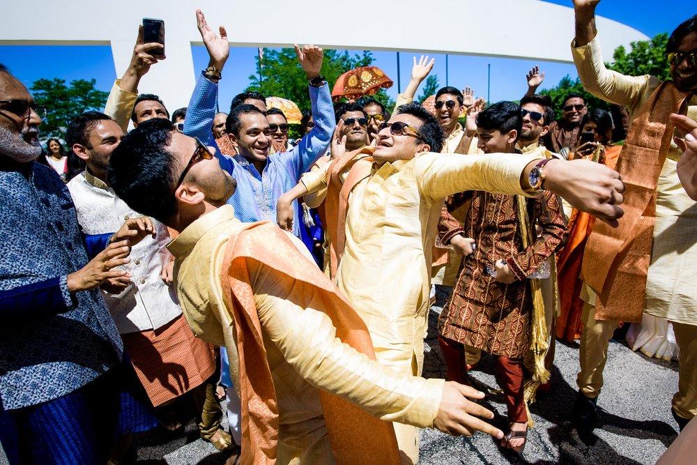 Baraat dancing during a Renaissance Schaumburg Convention Center Indian wedding.
