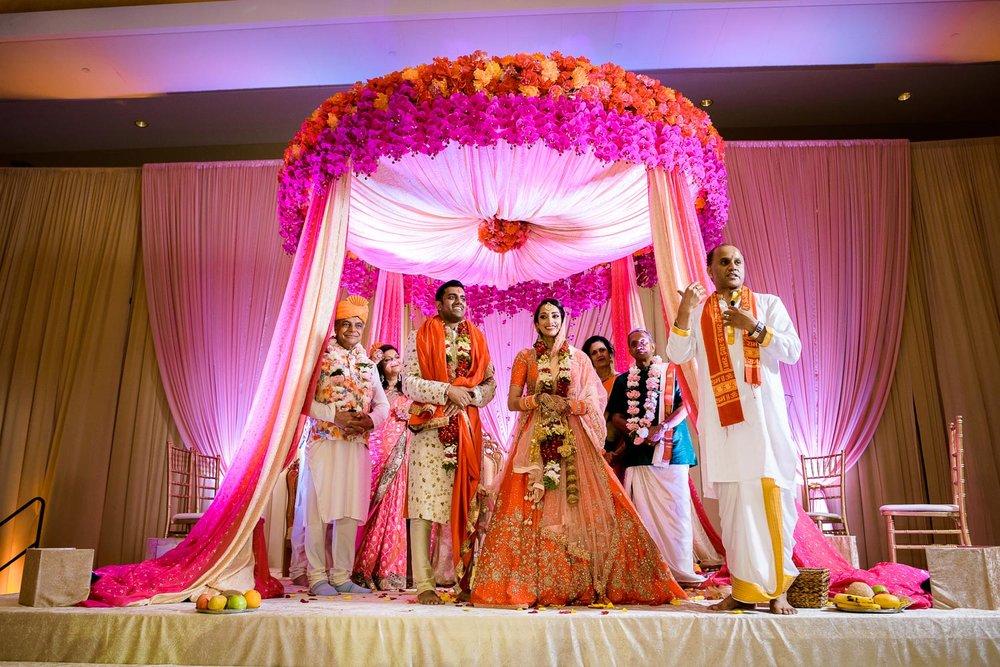 Wedding ceremony during a Renaissance Schaumburg Convention Center Indian wedding.