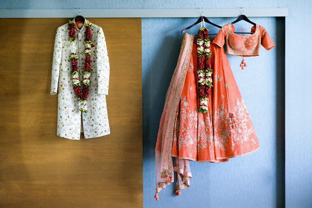 Wedding dress detail photos during a Renaissance Schaumburg Convention Center Indian wedding.