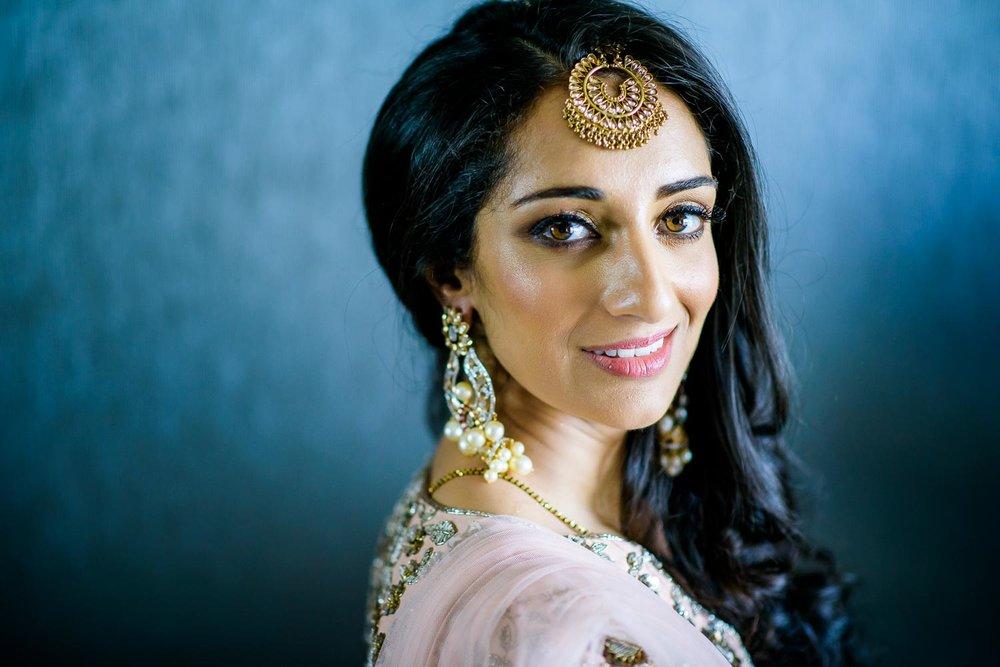 Beautiful bridal portrait during a Renaissance Schaumburg Convention Center Indian wedding.