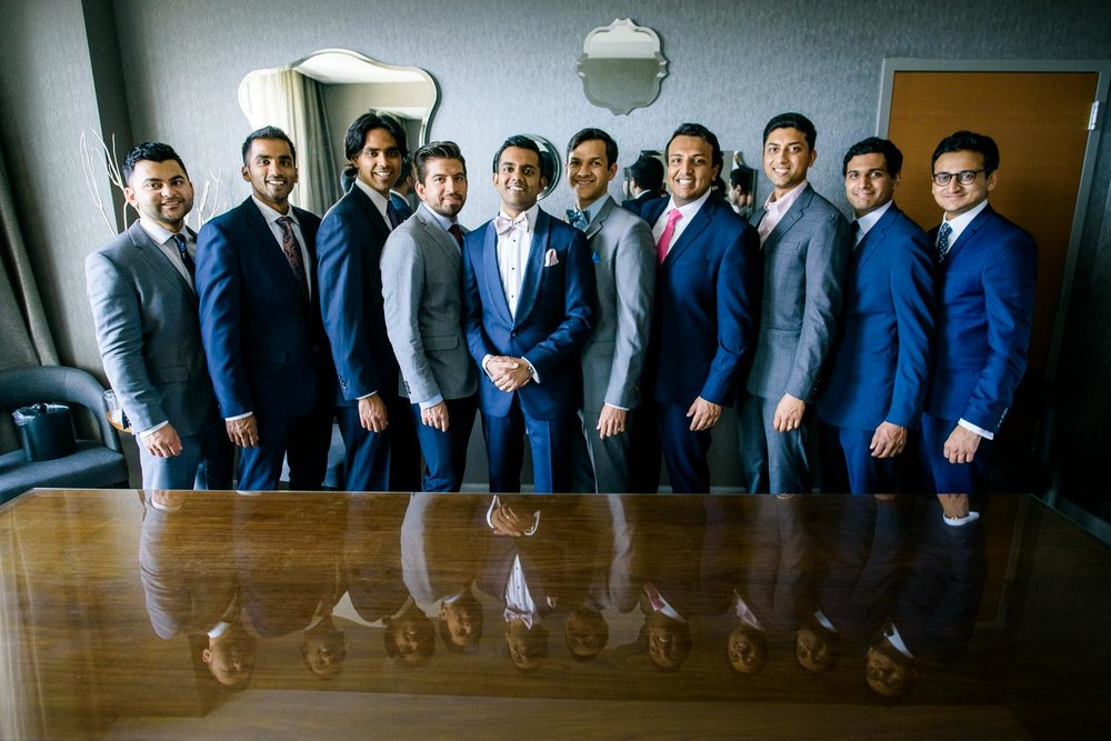 Groomsmen during a Renaissance Schaumburg Convention Center Indian wedding.