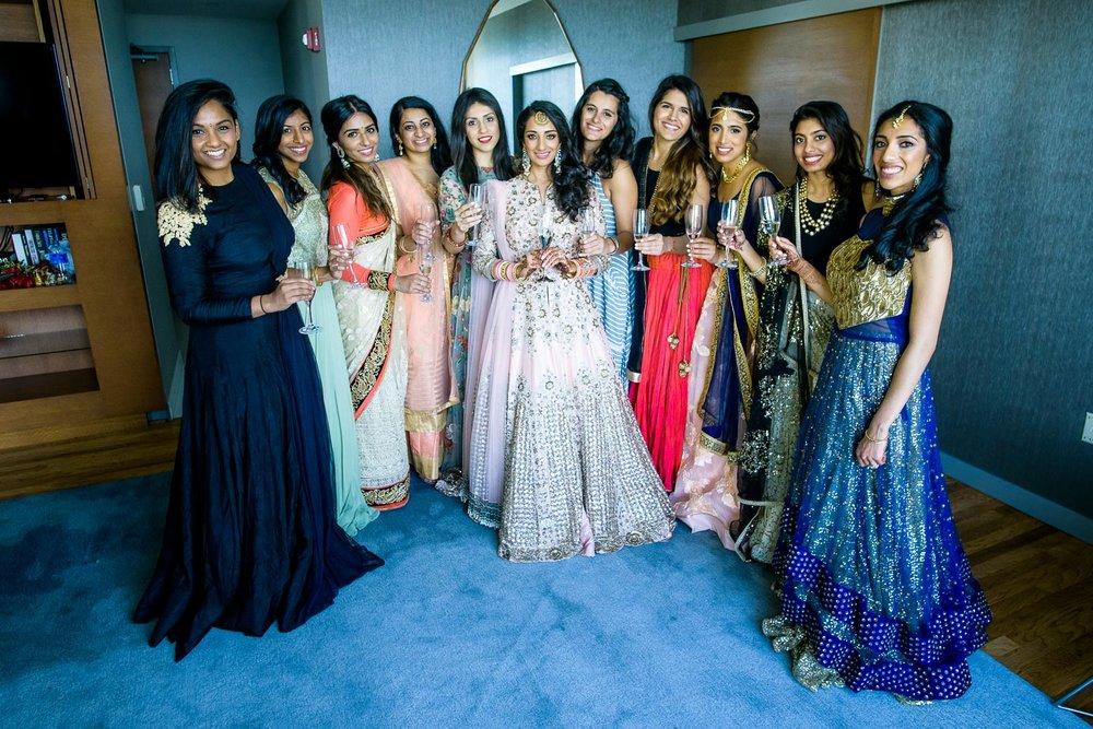 Bride and bridesmaids during a Renaissance Schaumburg Convention Center Indian wedding.
