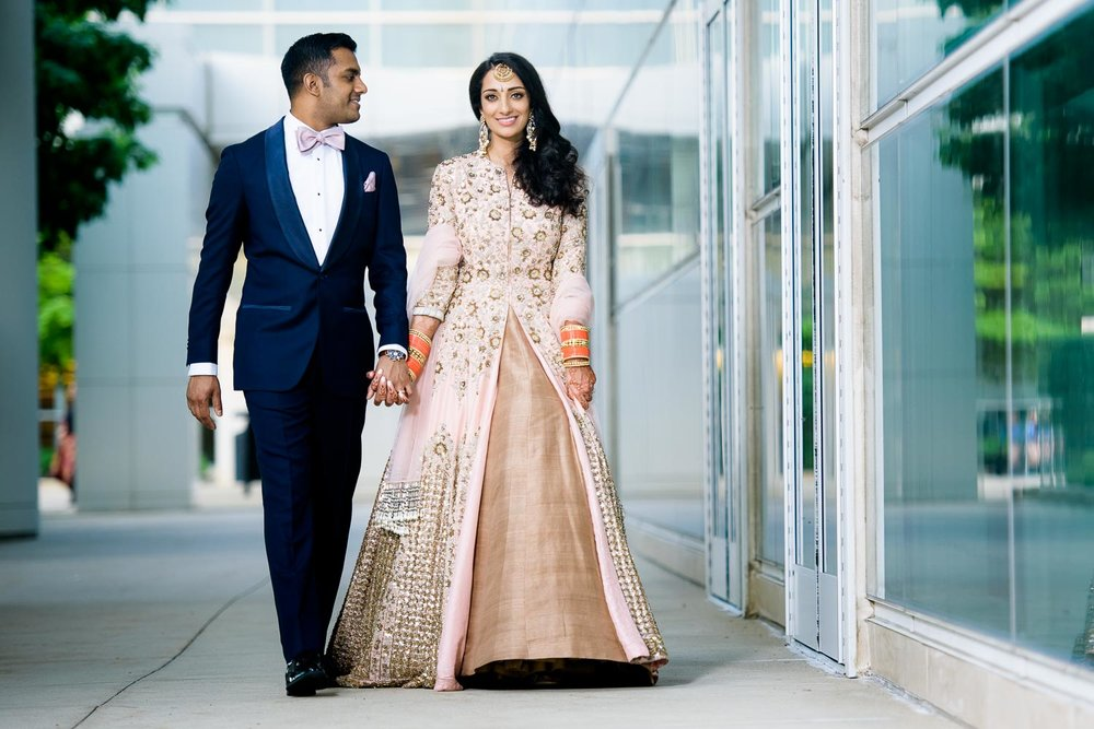 Wedding day portrait during a Renaissance Schaumburg Convention Center Indian wedding.