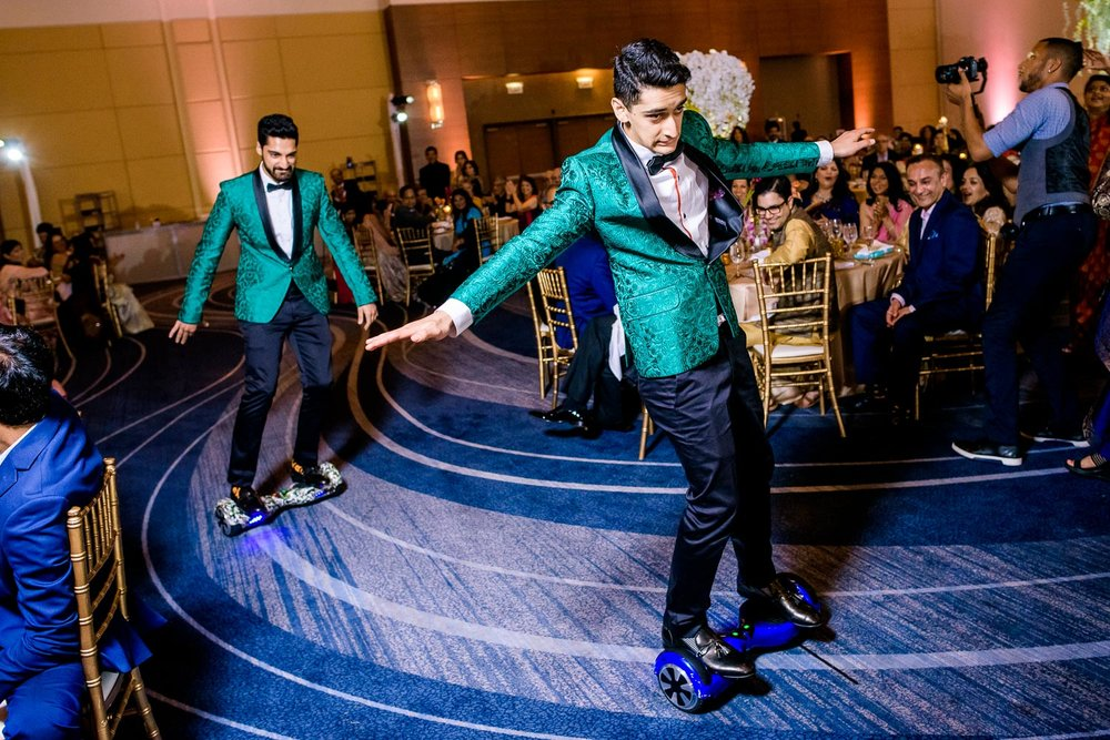 Best men introductions during a Renaissance Schaumburg Convention Center Indian wedding.