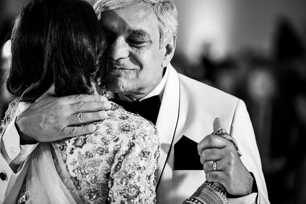 Father daughter dance during a Renaissance Schaumburg Convention Center Indian wedding reception.