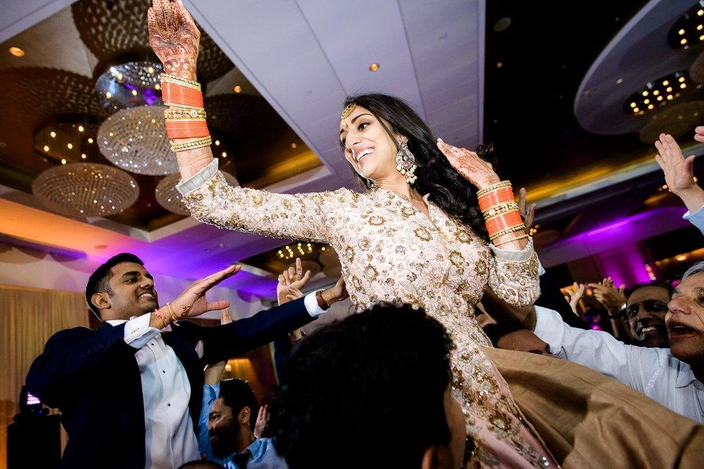 Bride during a Renaissance Schaumburg Convention Center Indian wedding reception.