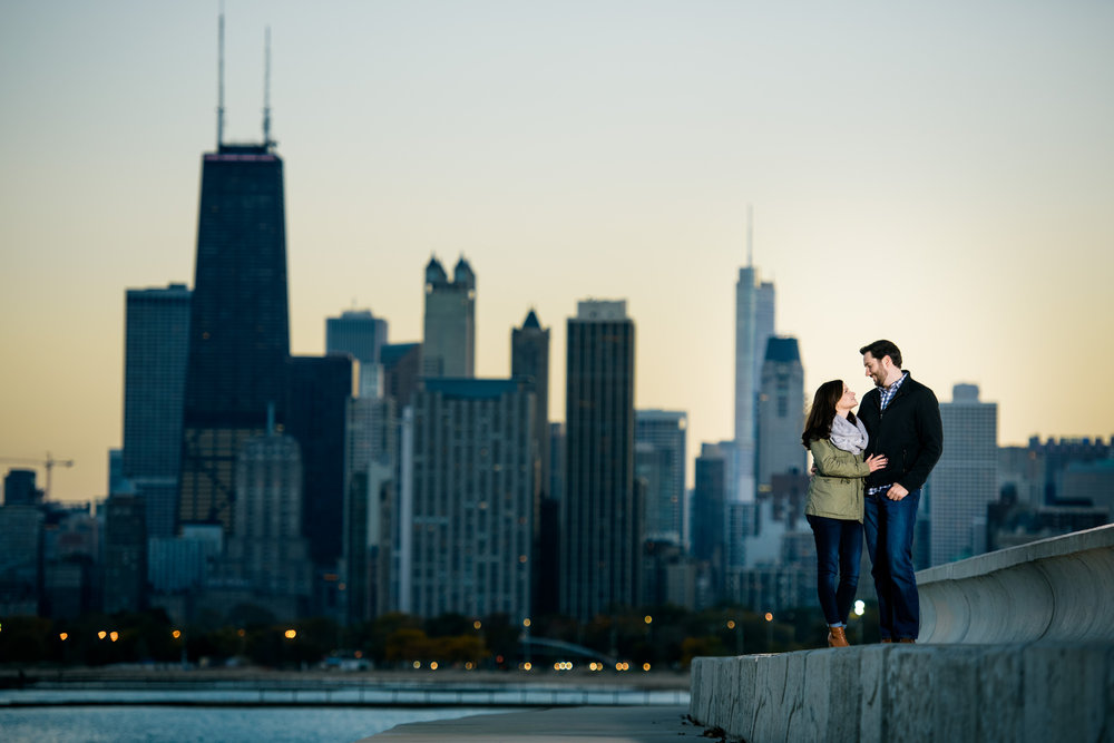 Sunset engagement session in Lincoln Park Chicago.