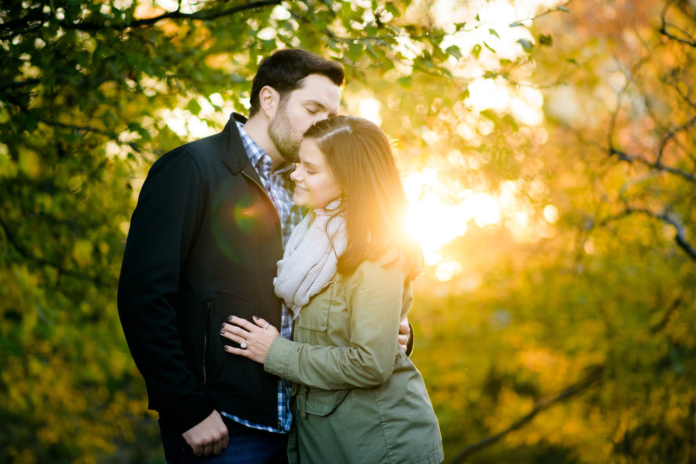 Caldwell Lily Pond engagement photo at sunset in Chicago.